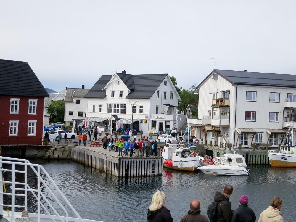 Individual tourists in Henningsvær, Lofoten