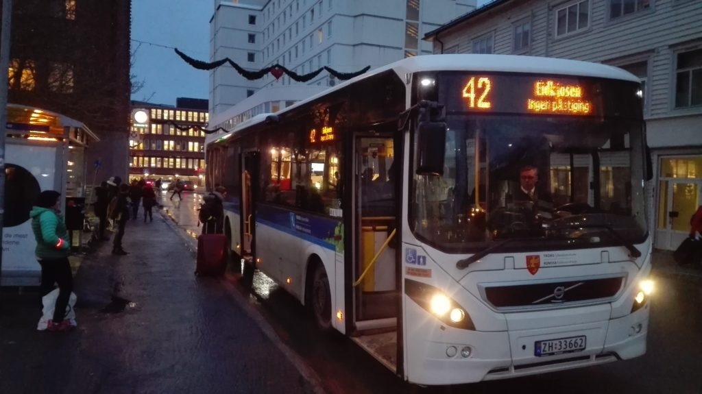 Bus 42 going to the airport from Sjøgata S4